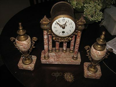 French Three Pieces Clock Set, Marble and Bronze as is