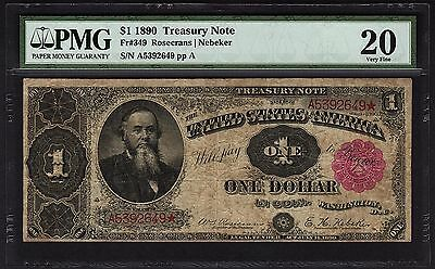 1890 $1 Treasury Stanton Note PMG 20 VF Red Seal Fr.349 One Dollar #1621098-026
