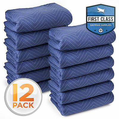"Deluxe Pro Moving Blankets Padded Furniture Pads 12 pk 72"" x 80"" 40-45 lbs/Dozen"