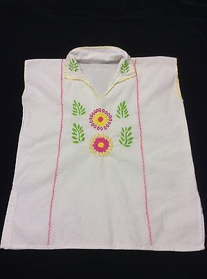 Womens Mexican Embroidered Cotton Top Peasant Blouse Sz S NWOT!