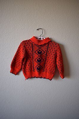 Vintage Red Unisex Knit Sweater Boy Girl Vintage Clothing Red And Blue Sweater