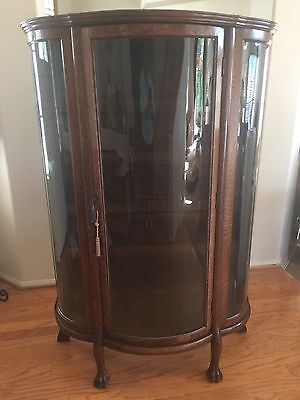 Antique Tiger Oak Bowed Glass Curio Display Cabinet Wood Shelves Original Key