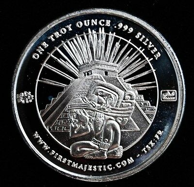 PROOF FIRST MAJESTIC SILVER BULLION ROUND 1oz 999 CHICHEN ITZA RUINS
