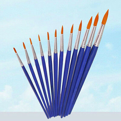 12x Round Pointed Tip =Brush Artist Paint Water Colour Painting Pens Intriguing