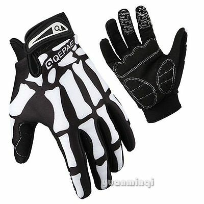 Men's Cycling Racing Skeleton Shockproof Bike Bicycle Half Full Finger Gloves