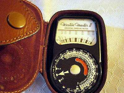 Vintage Weston Master II Light Meter, Made in England, Leather case, S141/735