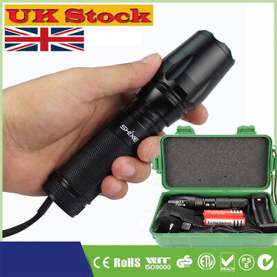 6000LM T6 LED Flashlight Rechargeable Tactical Torch Zoom 18650 AAA UK-19A