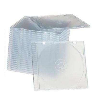 50 Slim 5.2mm jewel CD Cases with CLEAR Tray single Disc case  APC