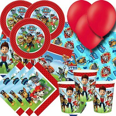 Paw Patrol Deluxe Birthday Party Kit For 16 Children Plates Cups Napkins Balloon