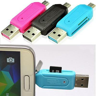 2 in 1 USB 2.0 + Memory Card Reader For SD T-Flash Card Micro USB OTG Adapter GG