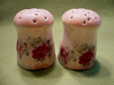 Antique Leuchtenburg Germany hand painted SALT & PEPPER shakers w/colorful roses