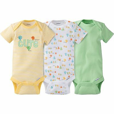 NEW Gerber Baby Girl or Boy Cute Onesie Bodysuit 3 Pack Size Newborn Unisex