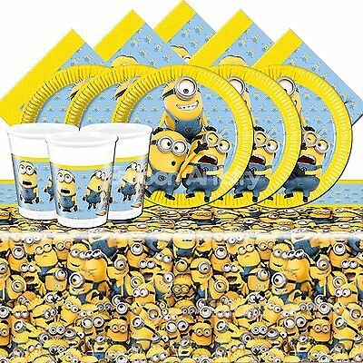 Minions Deluxe Birthday Party Kit For 16 Children - Plates Cups Napkins Banners