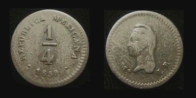 MEXICO. Silver 1/4 REAL 1859 Mo L.R. KM 368.6. Nice!