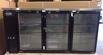 "Back Bar Cooler 3 Door Glass  72"" Beer Cooler Refrigerator New Bottle Fridge"