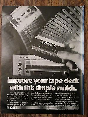 Original 1978 MAXELL CASSETTE TAPE Magazine Full Page Ad