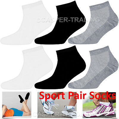 Trainer Liner Ankle Socks Mens Womens Cotton Rich Sports White 6 12 24 Pairs Lot
