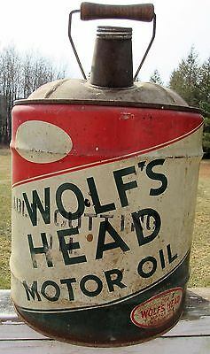 Wolf's Head Five Gallon Motor Oil Can 100% Pennsylvania Vintage