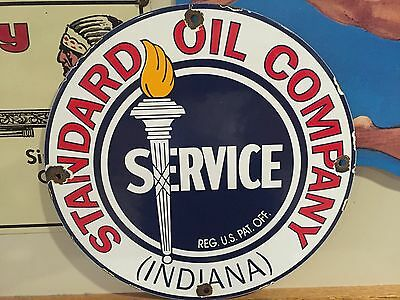 Standard Oil Indiana Porcelain Gas Pump Sign, A Vintage Oil Gasoline Company Can