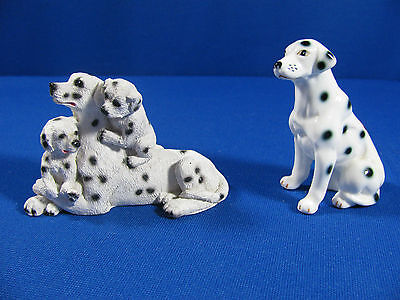 2 Dalmatian Figurines: Mother & Pups – Resin And Single Dog – Porcelain