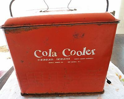 "1950's Vintage Red ""Cola Cooler"" Poloron NY Metal Insulated"