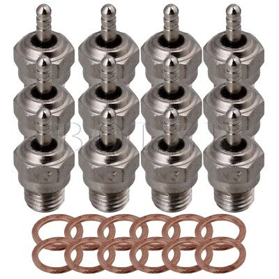 12PCS Silver RC1:8 1:10 Glow Spark Plug Stainless Steel for HSP N3 15~28 Engine