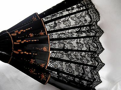 """Xt Cond!  Victorian 10"""" Black Lace Mourning Fan"""