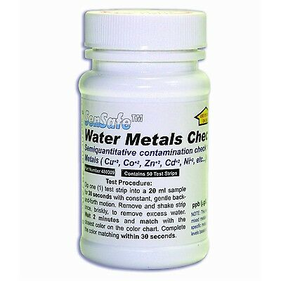 100 x Heavy Metals Test Strips for Drinking/Well Water, 100 Tests, 10 - 1,000ppb
