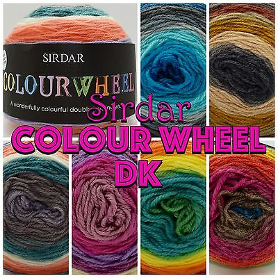 Sirdar COLOURWHEEL and DAZZLE Multicolour DK Knitting Crochet Wool Cake 150g