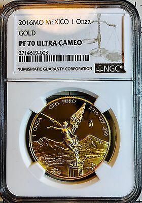 2016 1oz Gold Libertad Proof  *Treasure Coin of Mexico™* NGC PF70