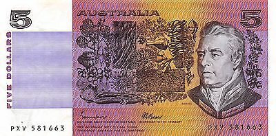 Australia $5 ND.1980's Prefix PXV  circulated Banknote , G14