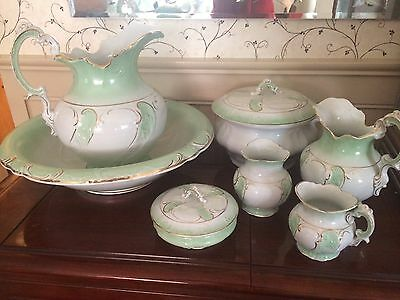 ANTIQUE 10 pc VICTORIAN  WASH VANITY CHAMBER SET Etruria Mellor
