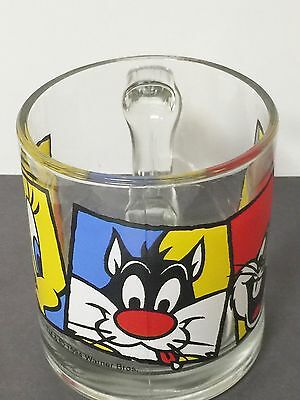 1994 Looney Tunes Warner Bros. Bugs Bunny, Tweety, & Sylvester Glass Coffee Mug