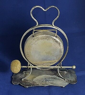 Beautiful Antique Silver Plated on Brass Dinner Gong
