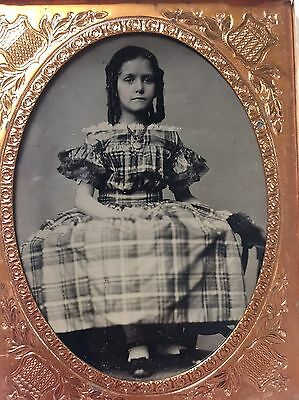 Sharp 1/4 Plate Ruby Ambrotype- Cute Girl W Curls ! Great Condition