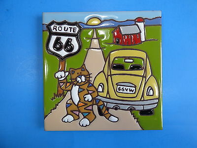 "Ceramic Art Tile 6""x6"" Route 66 vintage VW BUG cute cat kitty open road NEW I39"
