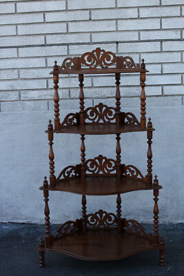 Gorgeous Decorative Victorian Walnut Corner Stand with 4 Shelves