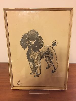 Vintage 60s Poodle Picture Art Framed Chinese Kitsch Shabby Chic Dog Print