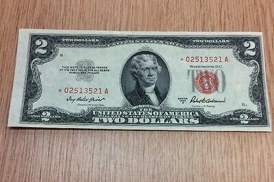 1953-A $2   U.S. Dollar Banknote - Red Seal - STAR NOTE # *02513521A