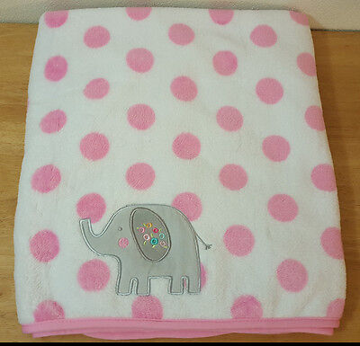 "Garanimals  Pink Polka Dot Baby Blanket Gray Embroidered Elephant 40"" x 30"""