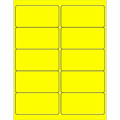 "Tape Logic LL178YE Rectangle Laser Labels, 4"" x 2"", Fluorescent Yellow (Pack of"