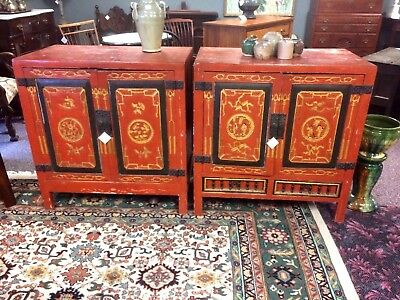 Pair of Similar Antique Chinese Lacquered Cabinet