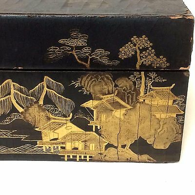 Antique Chinese Japanese Lacquered Box With Gold Decoration