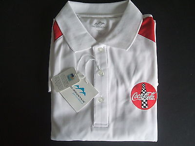 NIP Men's White Coca Cola Trackside Polo Shirt 2XL