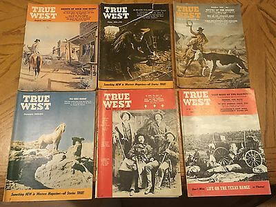 """1955 """"true West"""" Magazine Lot Of 6 Issues - Complete 1955 Year"""