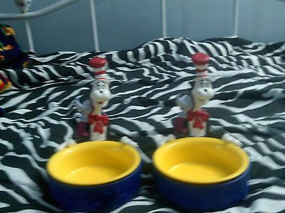 2 Cat In The Hat Dog Bowls Cat Bowls Cat In The Hat Dishes, Dr. Seuss
