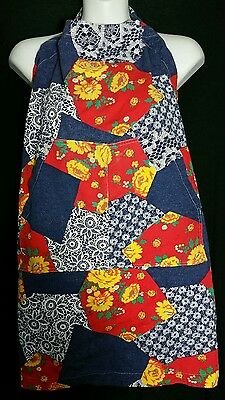 Vintage Apron Patchwork One Size Cotton Cooking Gardening Pockets 1970's