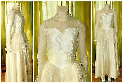 Vintage 1940's Candlelight Satin Lace WEDDING GOWN DRESS