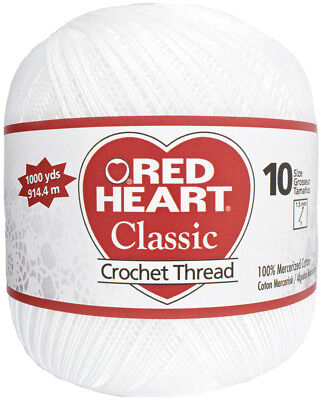 Red Heart Classic Crochet Thread Size 10 White 139-201