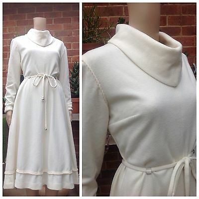 VINTAGE 70's Angora Blend GERMAN WINTER SWING DRESS 14 16 Retro CHIC